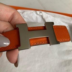 Authentic Hermès Constance belt orange and white